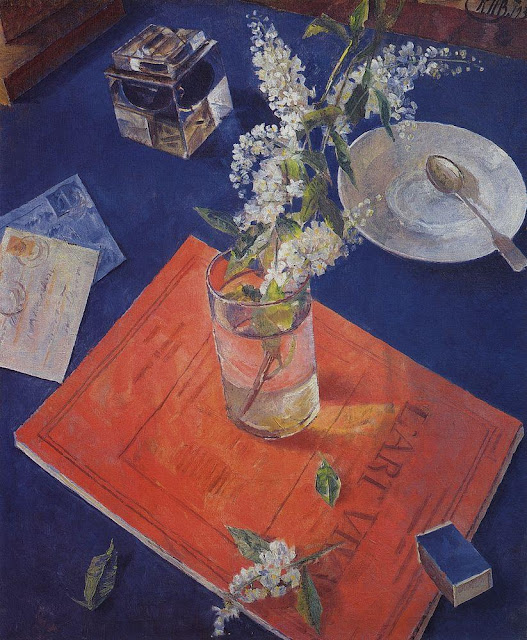 Kuzma Petrov-Vodkin - Bird cherry in the glass. 1932