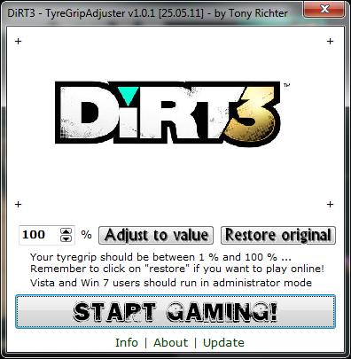 DiRT 3 Tyre Grip Adjuster 1.0.1 D3tga