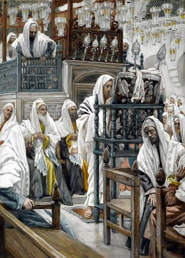 Tissot: Isus čita u sinagogi