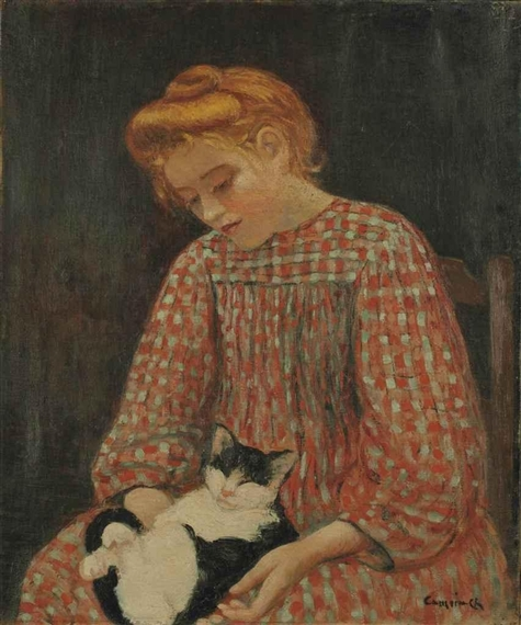 Charles Camoin - Jeune fille au chat