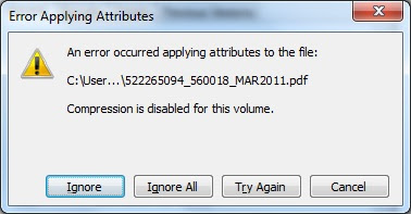File compression error in Windows