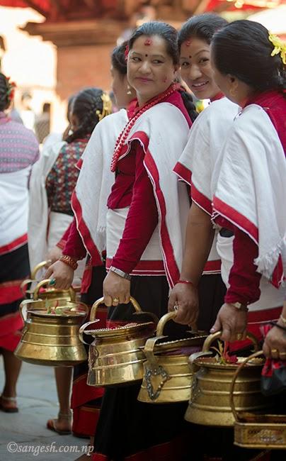 Women in traditioinal Newari attaire