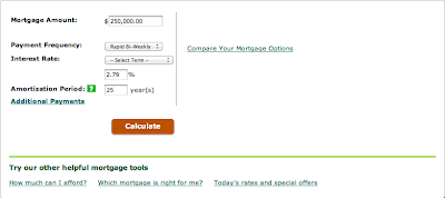 TD Mortgage Calculator Entry
