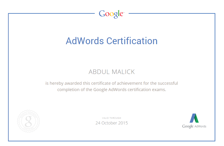 Google Adwords Certified Consultant - Abdul Malick
