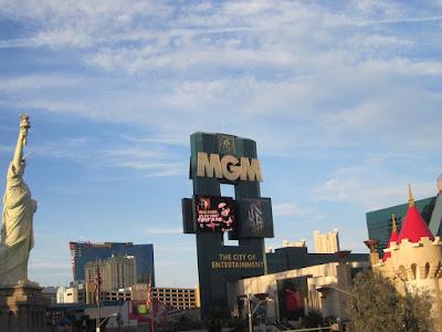 mgm grand newyork casino hotel signs stock photo