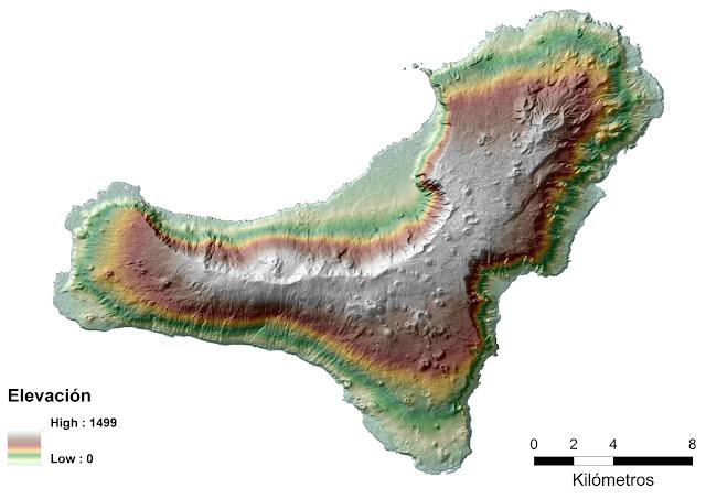 Mapa de elevaciones de la isla de El Hierro