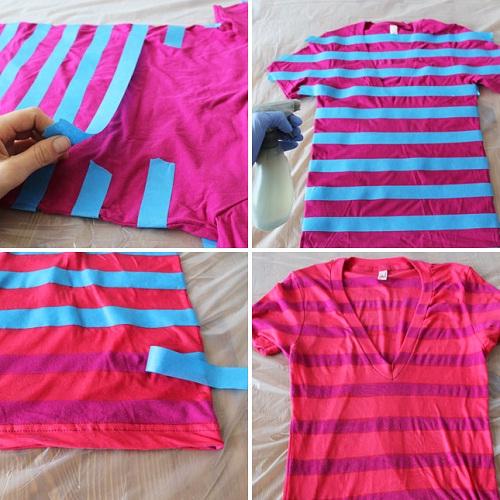como customizar camiseta com água sanitária - camiseta com listras