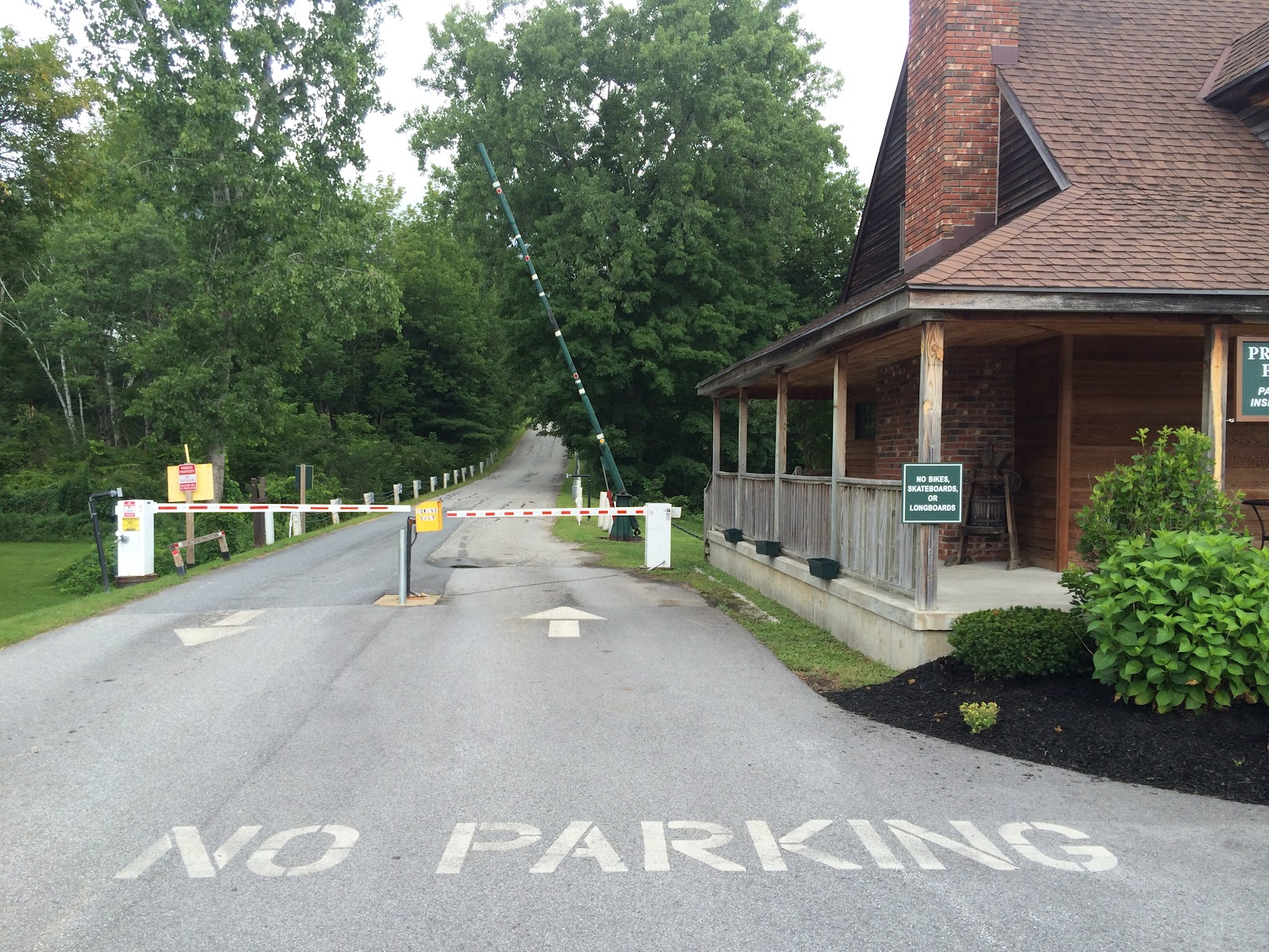Beginning of bicycle climb up Mt. Equinox, Sunderland, Vermont.  Toll gate and toll house.