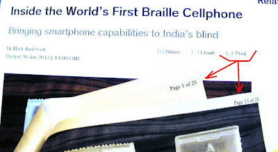 Braille cell phone article printable page overrides print preview and prints 25 pages