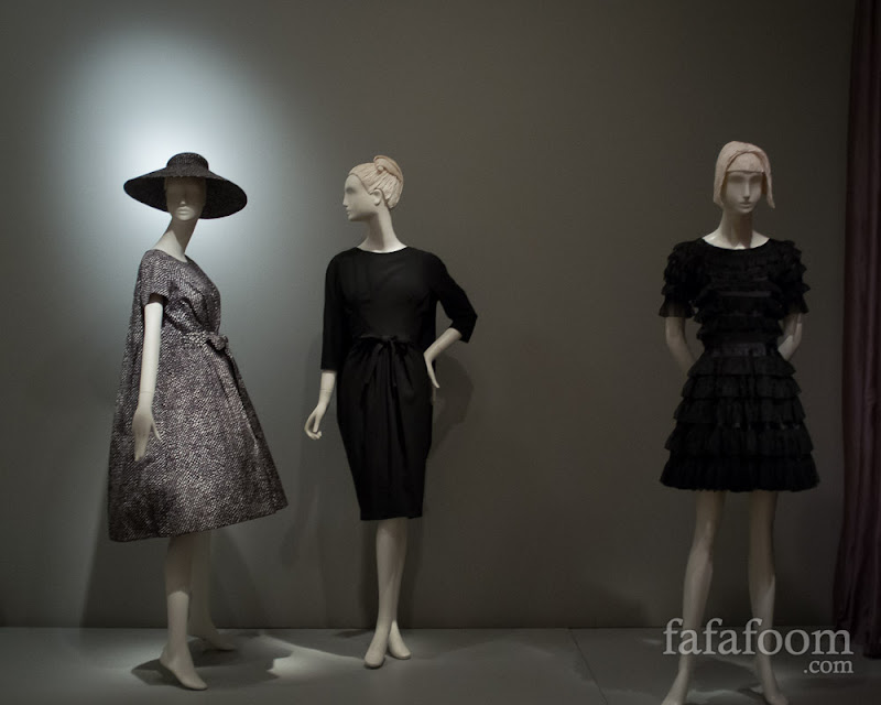 "Left group: Yves Saint Laurent for Christian Dior, Trapèze collection dresses, 1958. Rightmost: Gabrielle ""Coco"" Chanel, Short cocktail dress, 1965."