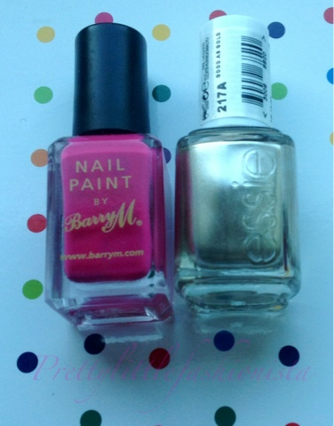 NOTD: Essie's Good As Gold and Barry M's Shocking Pink