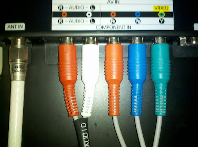 Picture of Wii component plugs on a Samsung LED Flat Panel TV