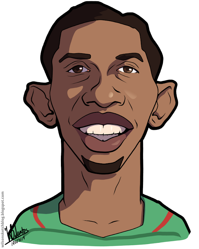 Cartoon caricature of Samuel Eto'o.