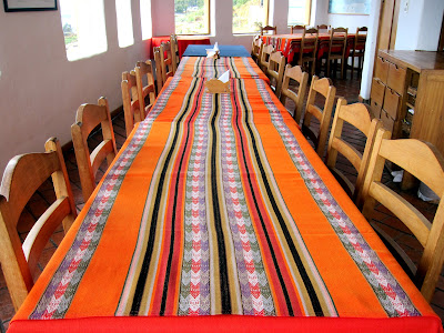 Table in the lodge at Ecolodge La Estancia on the Isla del Sol on Lake Titicaca in Bolivia