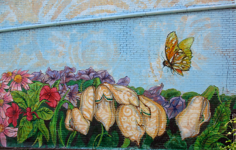 TAGS Mural, Oakland, Butterfly, Garden, Flowers, Park, Birds, Cardinals,  Park Bench, Couple, Peaceful, Resting, Blue Sky, Kyle Holbrook, Olga  Brindar, ...
