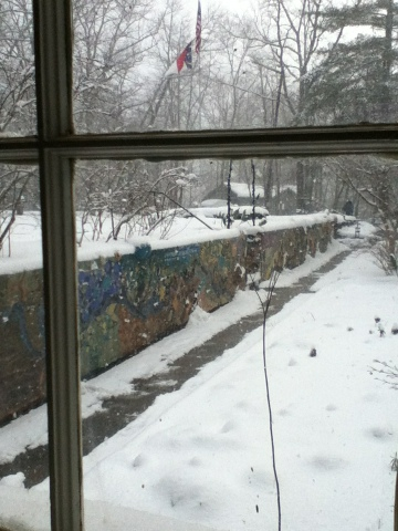 Art Wall in snow at Penland School of Crafts
