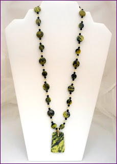 "Feeling Alive- Serpentine, Yellow Turquoise, Swarovski  crystal 24""  $60"