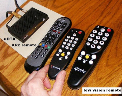 Comcast Xfinity Motorola uDTA box and remote control for low vision