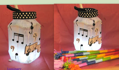 Music Notes Luminary/pen stand