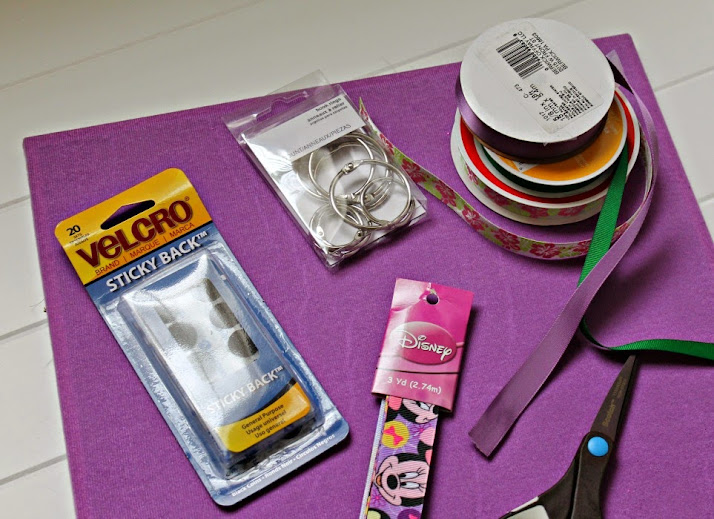 DIY Hair Accessory Organizer supplies - no tools or glue gun needed! Completed project in under 15 minutes.