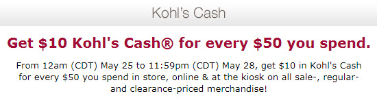 Kohls cash coupon may 2012