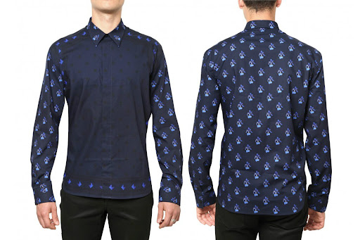 GIVENCHY - STARS AND FLOWER PRINTED POPLIN SHIRT