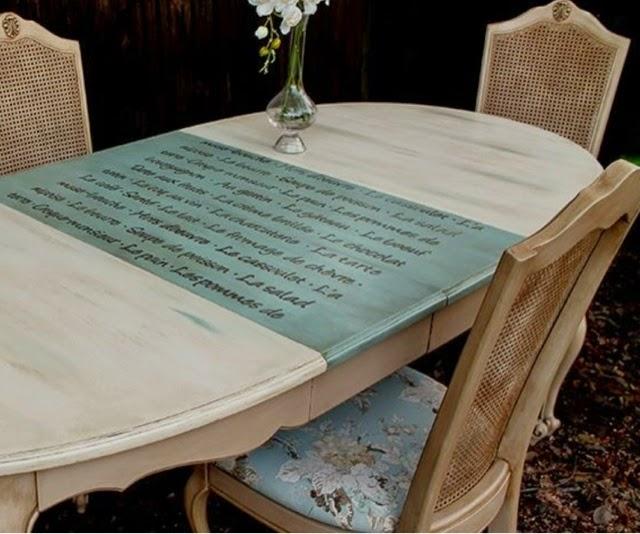 Decora tus casa con estarcidos la c moda encantada - Mesas de comedor antiguas restauradas ...