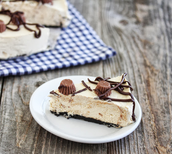 photo of a slice of Peanut Butter Cheesecake