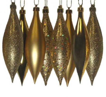 8ct Vegas Gold Shatterproof 4-Finish Finial Drop Christmas Ornaments 5.5