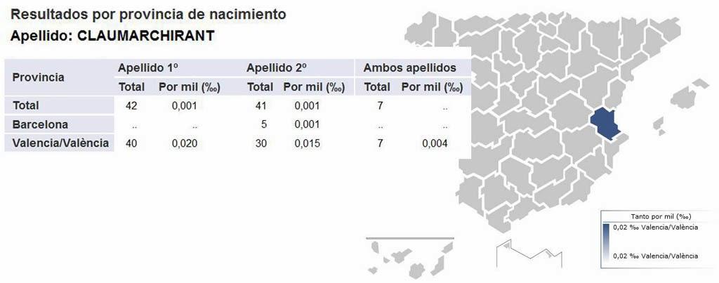 Frecuencia del apellido Claumarchirant en España.