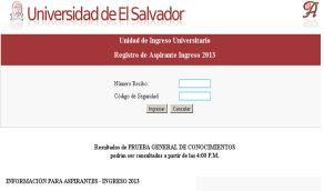Resultados examen UES 23 nov Lista Ingresantes