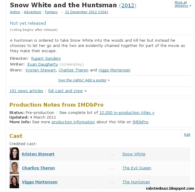 Click here to view the Snow White and The Huntsman IMBd Page. Country: