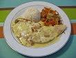Escalope de dinde au curry et julienne de légumes