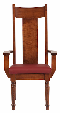 Farmhouse Dining Chair in Royal Maple with Leather Seat