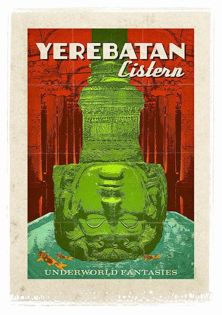 the basilica cistern retro poster
