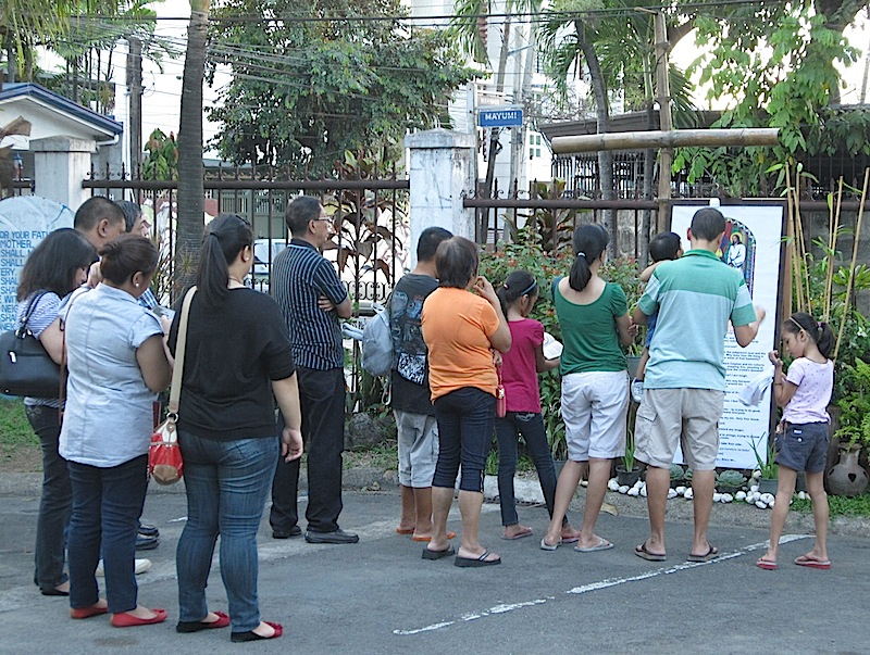 Stations of the Cross at the parking lot of the Immaculate Heart of Mary Parish