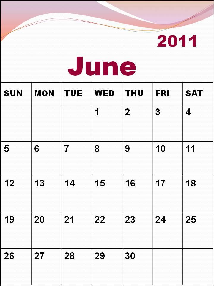 june calendar 2011. Blank Calendar 2011 June