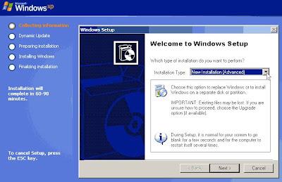 Cara instal Windows XP kurang dari 20 menit !