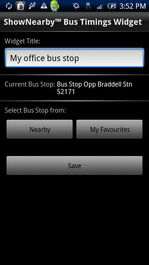 ShowNearby bus timing widget. Singapore's leading location-based service provider shows you nearby points of interest. This widget is available on Android phones.