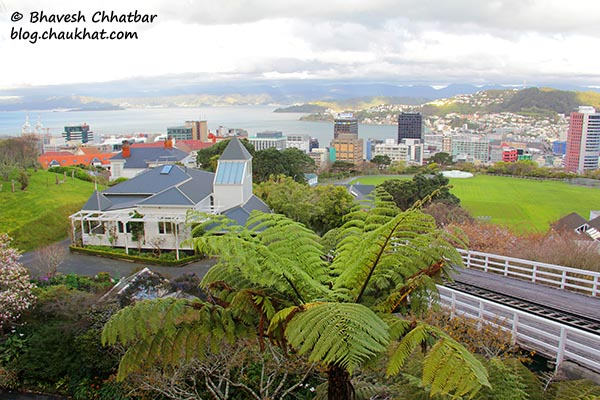 A beautiful view from the kelburn station of Wellington Cable Car