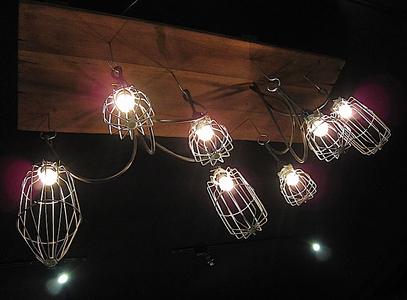 wire cage lamps in Pi restaurant