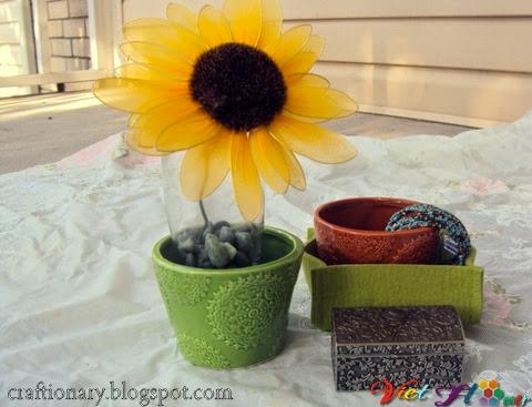 Làm hoa hướng dương bằng vải voan - bước làm nhụy hoa
