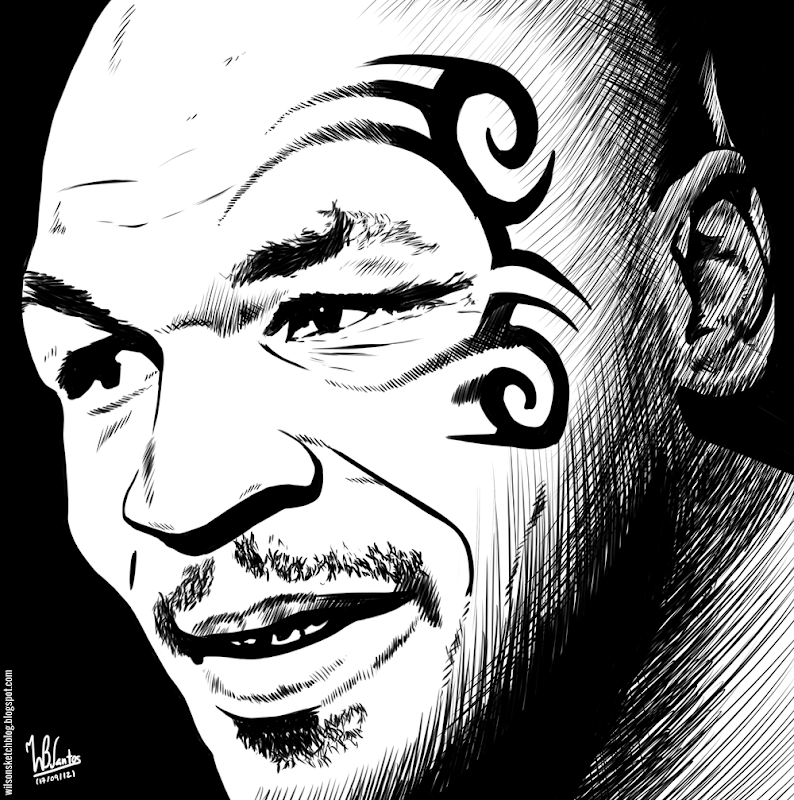 Ink drawing of Mike Tyson, using Krita 2.5.