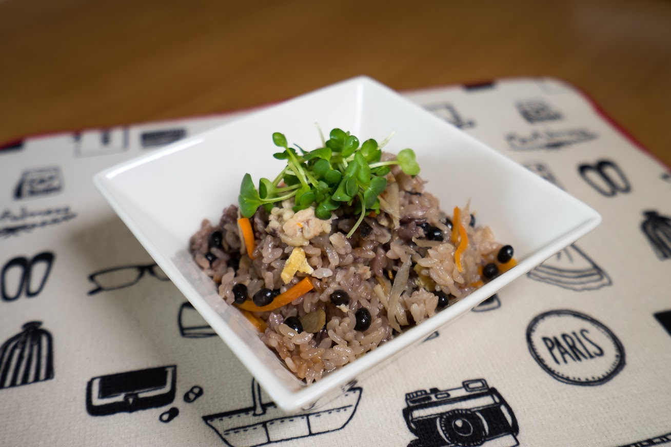 黒千石レシピ:黒千石大豆入り混ぜご飯:永井美保子の黒千石クッキング