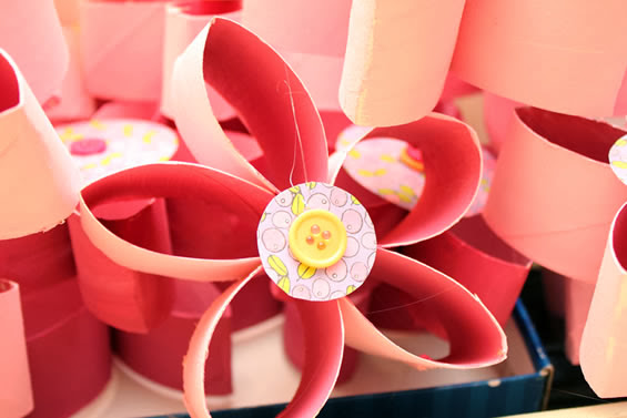 Florzinhas rolos de papel higiênico