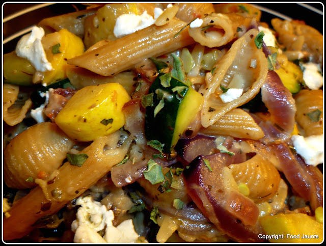 Bacon, Caramelized Onion and Summer Squash Pasta