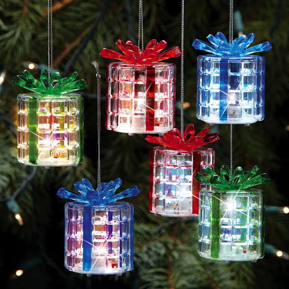 Color Changing Lighted Gift Box Ornaments - Set Of 6 By Collections Etc