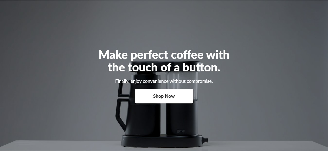 Ratio Coffee's landing page - a coffee machine