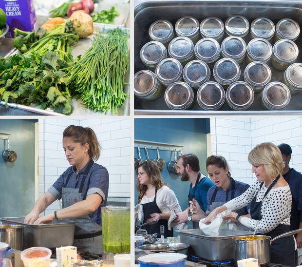 photo collage of greens, empty jars, chef brooke, and people cooking in a kitchen