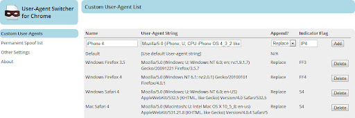 Change User Agent in Google Chrome browser